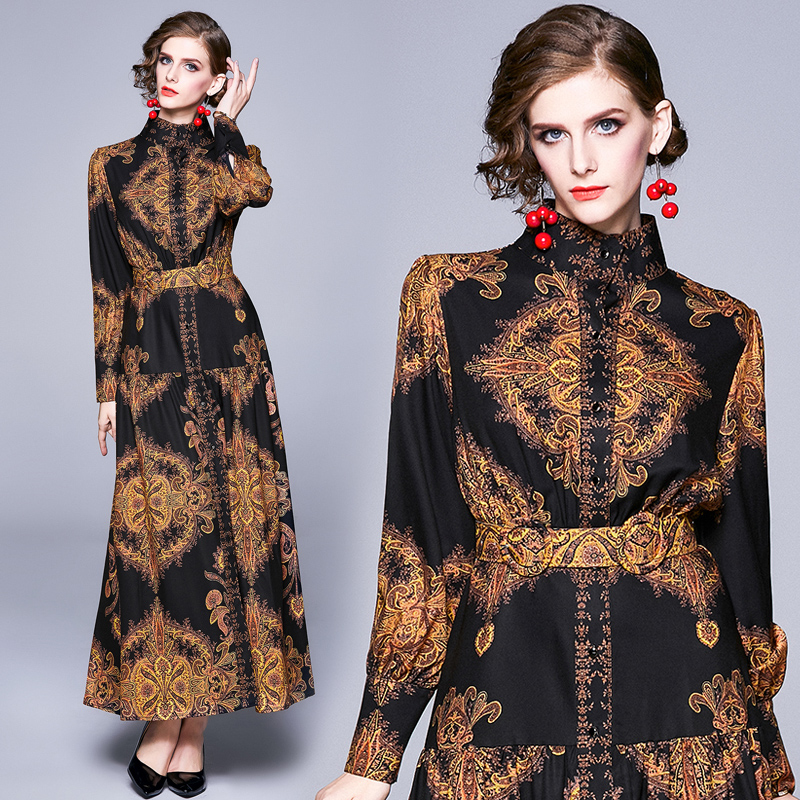 Banulin HIGH QUALITY Newest 2019 Designer Runway Maxi Dress Women's Puff Sleeve Vintage Floral Print Casual Buttons Long Dress