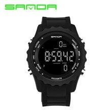 SANDA Precision Step Fashion Sport Watch men LED Army Military watches Dive Swim Outdoor Wristwatches relogio masculino