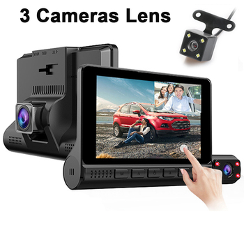 Car DVR 3 Camera Lens Dash Cam 4'' Touch Screen DashCam Auto Video Recorder HD 1080P Mirror Registrator Front Rear View G-Sensor image