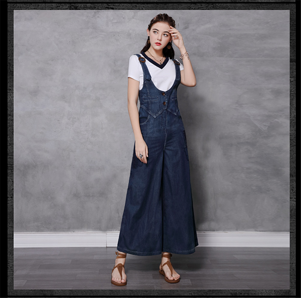 Vintage Women Denim Jumpsuit 2020 Summer Bodysuit Embroidery Color Blocks Spaghetti Strap Jumpsuits Overalls Femme 82208 (12)