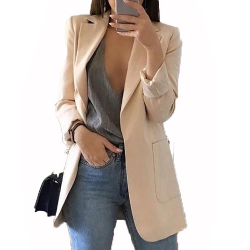 BKMGC Coats And Jackets Women 2019 New Women Lady Long Sleeve Cardigan Slim Jackets Suit Coat Work Jacket Casual Mid Coat Lapel