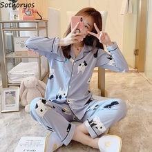 Womens Pyjamas Cardigans Sleepwear Kawaii Korean-Style Elegant Turn-Down-Collar Leisure