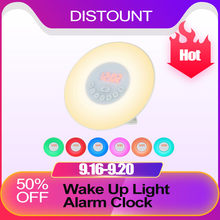 Wake Up Light Alarm Clock Sunrise/Sunset Simulation Digital Clock with FM Radio 7 Colors Light Sounds Function Touch Control(China)