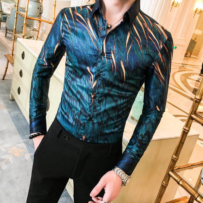 Autumn New Men Leaf Print Shirt Long Sleeve Button Slim Men's Designer Shirt Fashion Men's Party Retro Print Shirt Chemise Homme