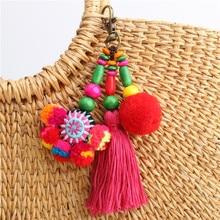 2020 New Thailand Handmade Cloth Bag Color Tassel key Chain Ethnic Wooden Beads Hair Ball key Chain Bag Pendant Car key Ring thailand imports genuine gv new moon key pendant