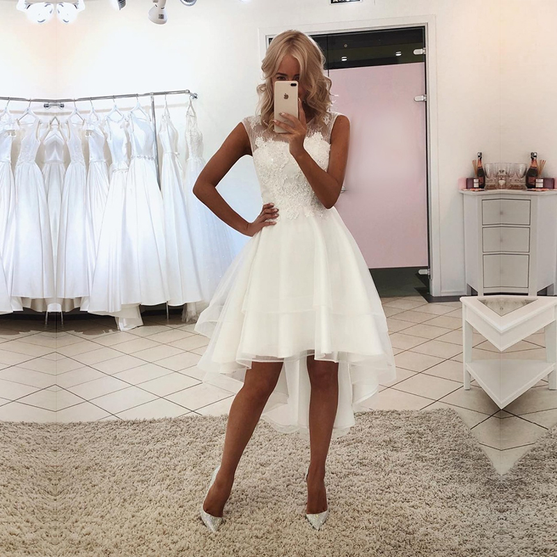 An048  Best Selling Elegant Front Short Long Back Beach Wedding Dress Luxury Lace Wedding Dress Custom-Made Vestido De Noiva