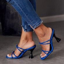 Kcenid sans lacet pantoufles femmes 2020 à la mode tasse talons blanc bleu femmes chaussures été élégant sangle sandales dames plage tongs