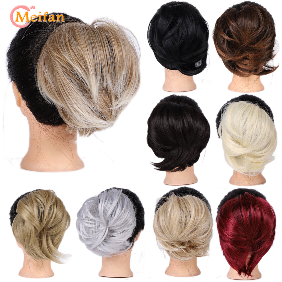 MEIFAN Women Elastic Straight Hair Bun Donut Chignon Rubber Band Synthetic Hair Scrunchie Wrap On Ponytail Hairpieces