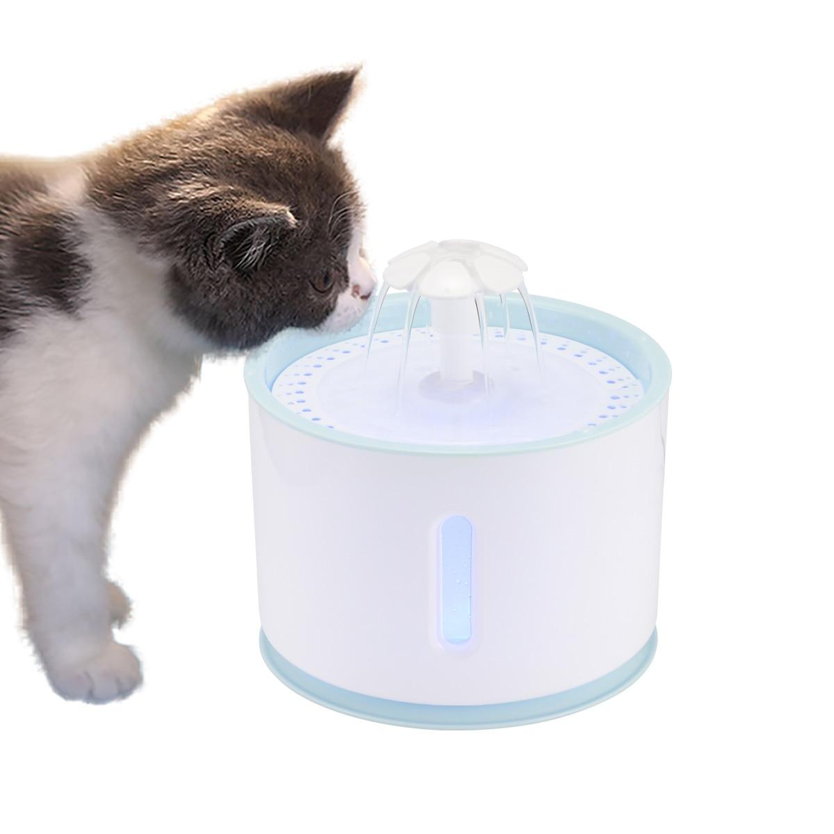 Водяной фонтан со сменной фильтрацией, автоматический питьевой фонтан с активированным углем, 2,4 л, USB-кабель