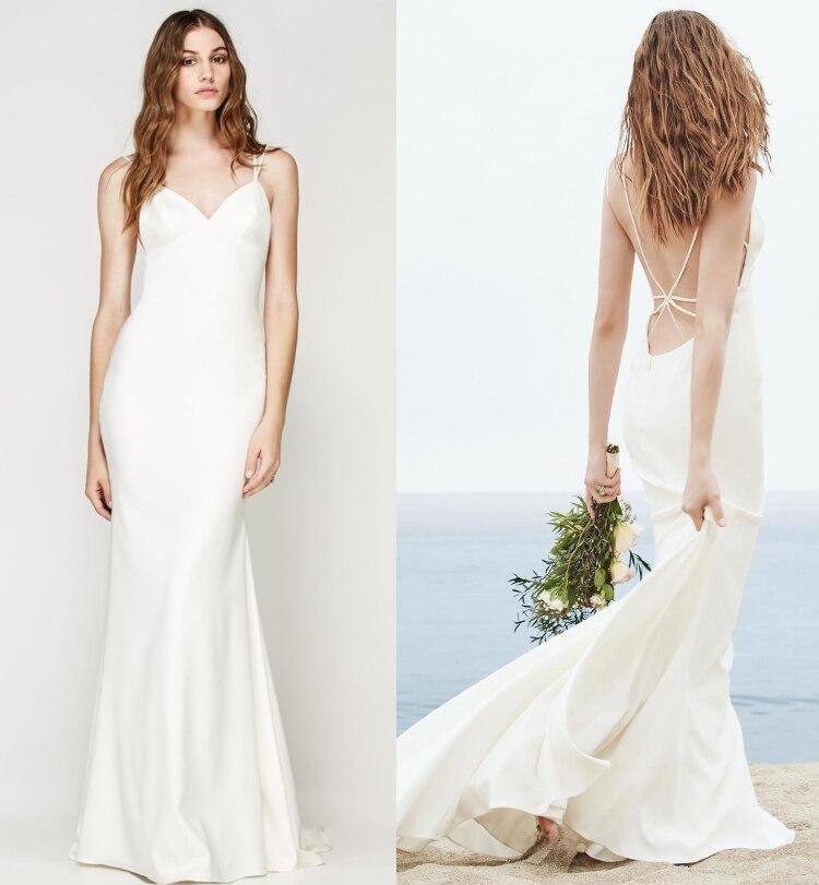 V Neck Spaghetti Straps Cross Back Satin Sheath Beach Wedding Dress