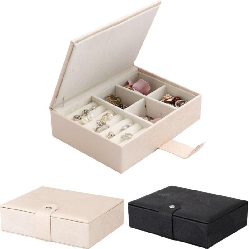 Comestic Portable Travel Leather Jewelry Box Organizer Jewellery Ornaments Case Storage /BY