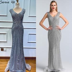 Image 2 - Dubai Grey Luxury Mermaid Design Prom Dresses V Neck Crystal  Beading Sexy Formal Gowns 2020 Serene Hill BLA60916