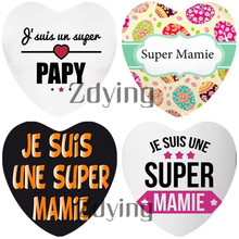 10pcs Heart Shape Je Suis Une Super Mamie Papy Glass Cabochon Beads Demo Flat Back DIY French Letter Pendant Jewelry Findings