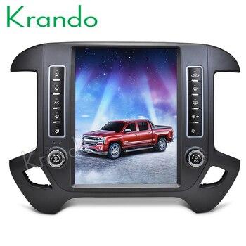 Krando Android 9,0 12,1  Тесла стиль вертикальный гидравлический автомобиль радио для Chevrolet Silverado и GMC Сьерра 2014 2018 GPS навигация плеер