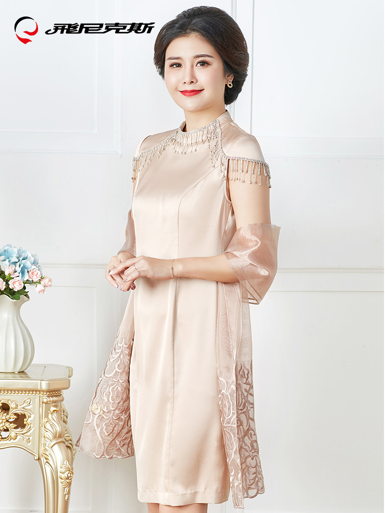 Mother of the Bride Dresses Knee Length 2 Piece with Jacket Crystal Mother Dress High Quality Wedding Party Groom Mother Gown