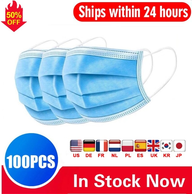 DHL 100PCS Fast Delivery! High Quality Non Woven Disposable Face Mask 3 Layers Face Masks Ear loop Mouth Mask