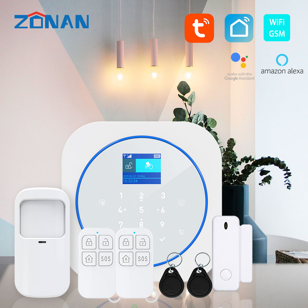 Tuya Wifi Gsm Alarm Security System With Smoke Detector Alexa Compatible App Control Smart Home Wireless Safety Alarm Kits