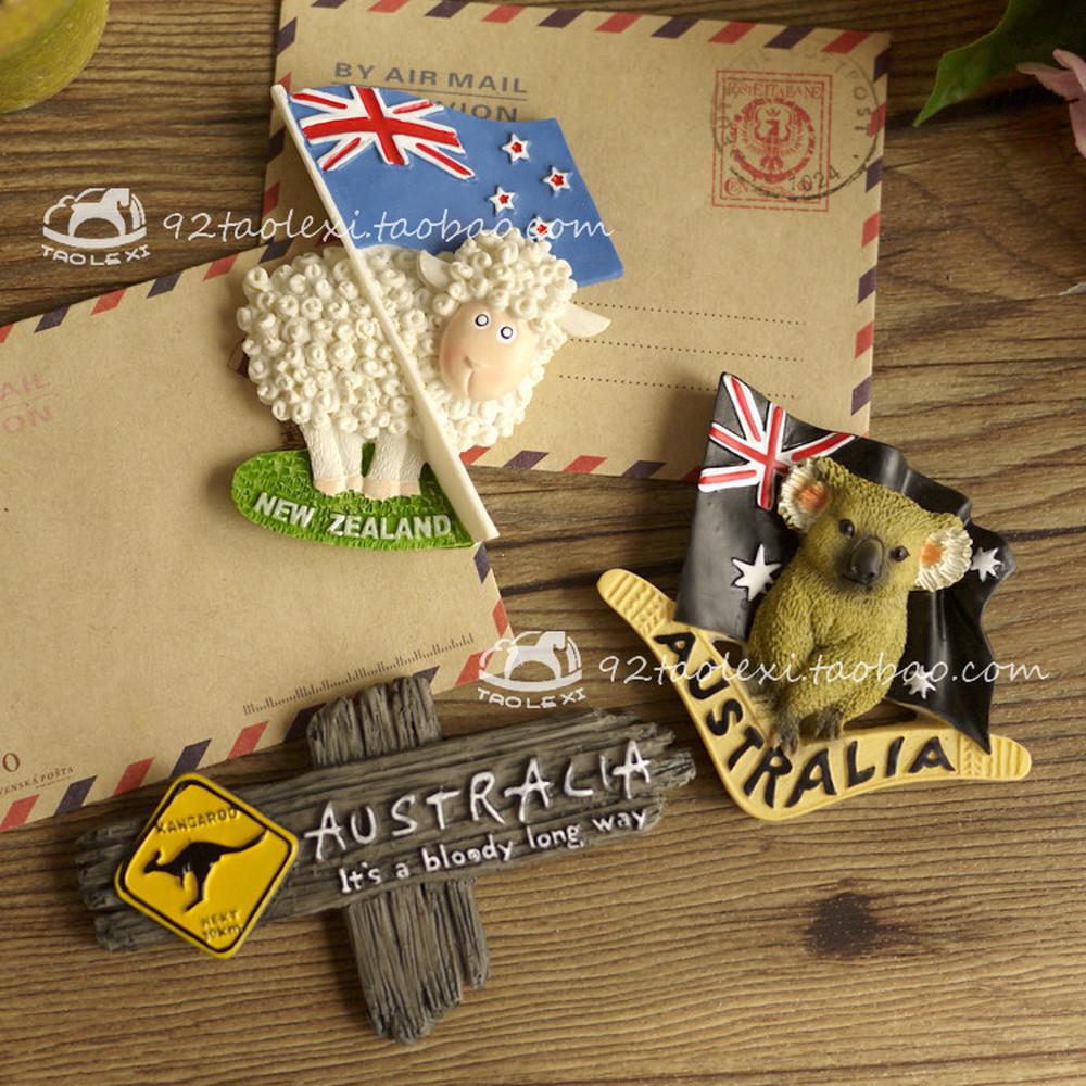 Canada Australia <font><b>New</b></font> <font><b>Zealand</b></font> Sydney <font><b>Fridge</b></font> <font><b>Magnets</b></font> Koala Kangaroo Sheep Elk Kiwi Refrigerator Magnetic Sticker <font><b>Souvenir</b></font> image