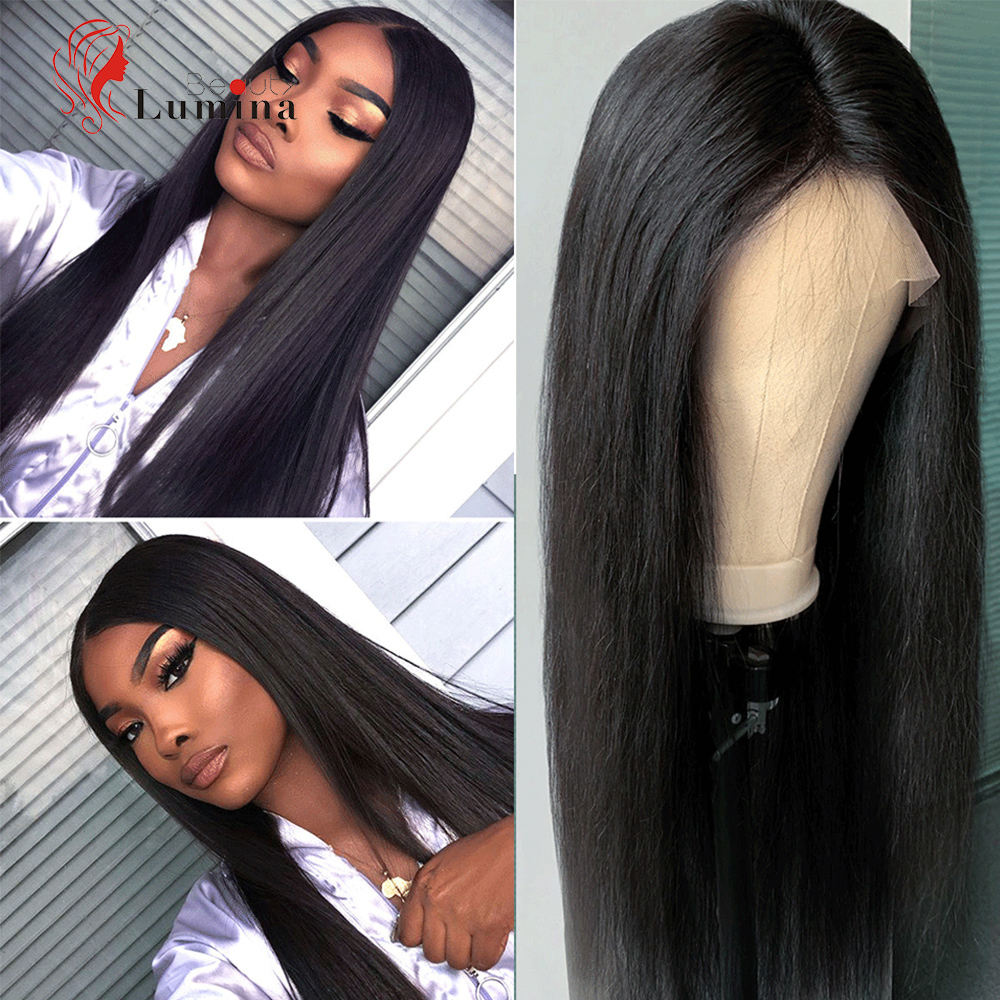 Beauty Lumina Straight Lace Front Wig 13X4/13X6 360 Lace Frontal Wig Preplucked Brazilian Straight Lace Front Human Hair Wigs
