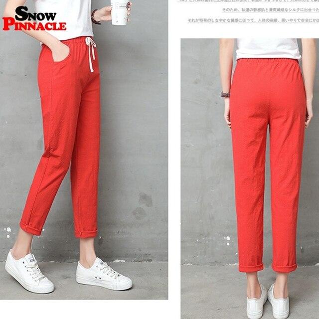 2019 New Women High Waist Elastic Harem Pants Casual OL Cotton Linen Lady Ankle -length Capris Trouser Pencil Pants Summer 2