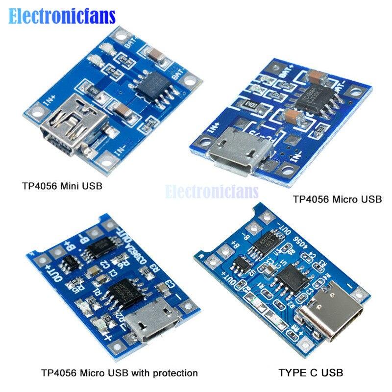 5 шт. Мини Micro Type C USB 5 В 1A 18650 TP4056 модуль зарядного устройства литиевой батареи зарядная плата с защитой двойной функции