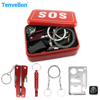 Military Survival Safety Survival Escape Kit Outdoor Emergency Camping kit self help box SOS for Hiking saw whistle compass