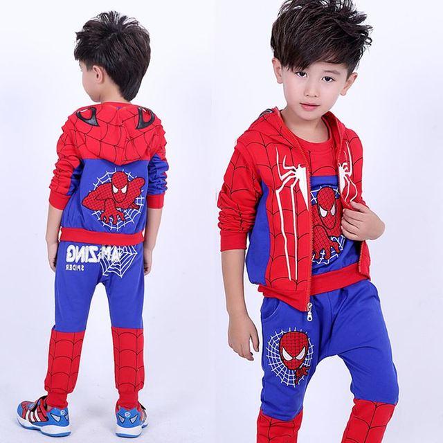 Spiderman  Sport Suit Children Fashion Superhero Costume 3