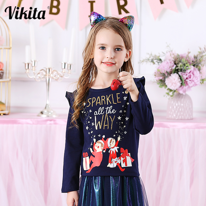 VIKITA Children Long Sleeve Cotton T-Shirts Girls Christmas T Shirt Kids Girls Autumn Winter Tops 3-8 Years Children Clothes 1