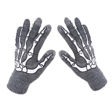 Halloween Warm Winter Skull Claw Bone Skelet Handschoenen Horror Vrouwen Mannen Goth Racing Volledige Handschoenen Mode Wanten Guantes Muje(China)