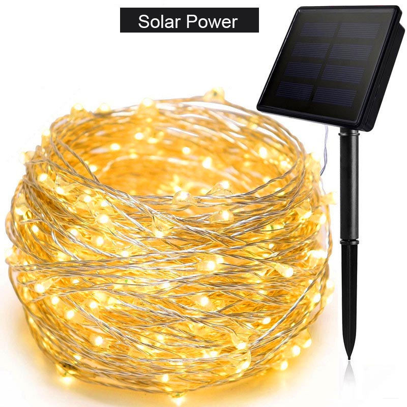 12m 22m LEDs Outdoor Solar Power String Lights Fairy Holiday Christmas Party Garlands Solar Garden Helloween Decoration