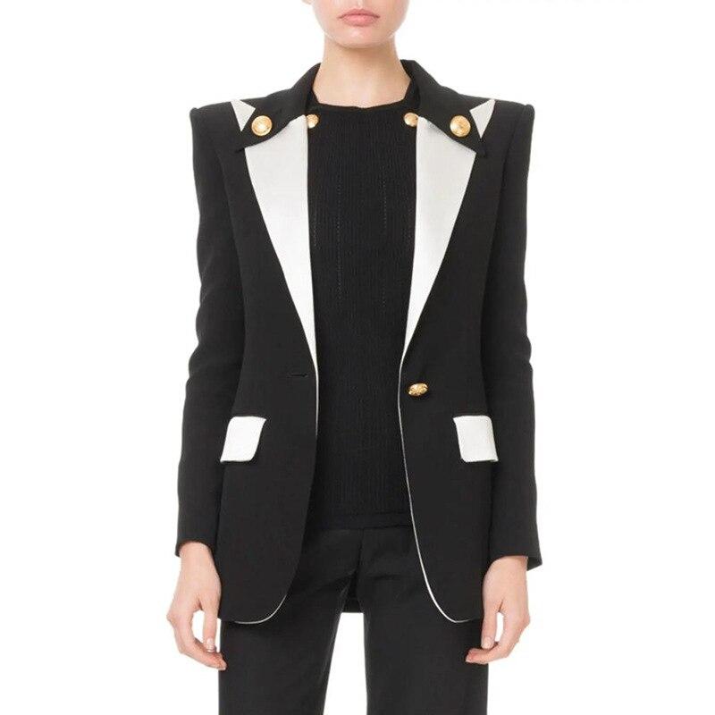 New Runway Designer Blazers Office Lady Normal Wear Classical Buttons Outerwear Coat Autumn Winter Women Patchwork Black Jacket