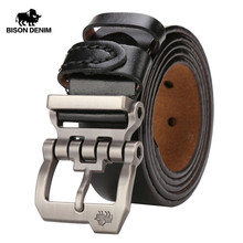 BISON DENIM Men Belt For Men Cowskin Genuine Leather Personality Men be