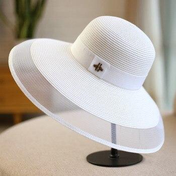 Women's Sun Straw Hat Elegant Mesh Cap Beach Sunscreen Big Straw Hats Sunshade Female Hat фото
