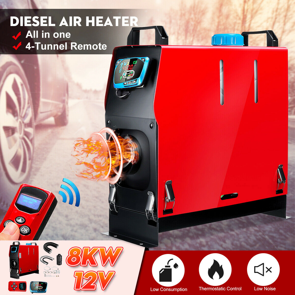 All In One Air diesels Heater 1KW-8KW Adjustable 12V 1 Hole Car Heater For Motor-Homes Boats Bus +LCD Switch+English Remote