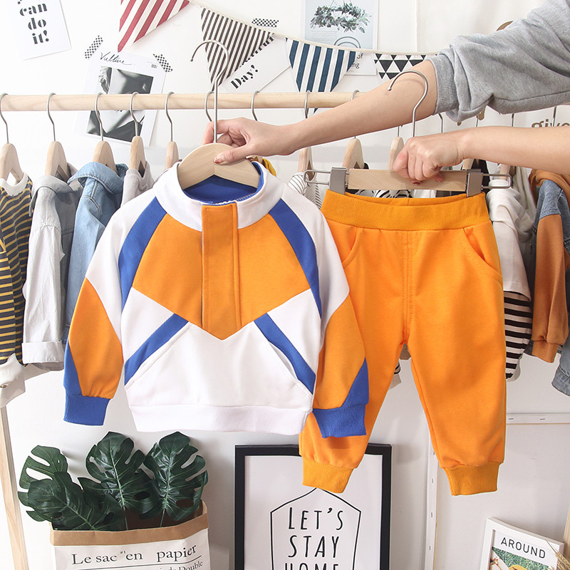 Kids' spring Autumn hoodie set the new fashion trend for Boys zipper sports suit two-piece title=