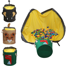 Portable Kids Toy Storage Bag Play Mat Cartoon Dirty Laundry Basket Foldable Fabric Storage Basket Toy Organizer Storage Bucket