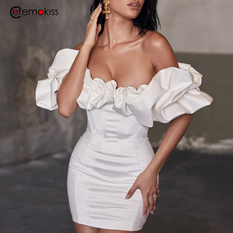 Ceremokiss Autumn Party Dress Women Slash Neck Mini Sexy Dress Elegant Ruffles Sleeve Bodycon Dresses Mini Nightclub Vestidos