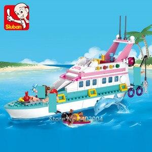 328 шт Город Друзья девушка крейсер Дельфин корабль модель строительные блоки наборы роскошная яхта Brinquedos Кирпичи игрушки для детей