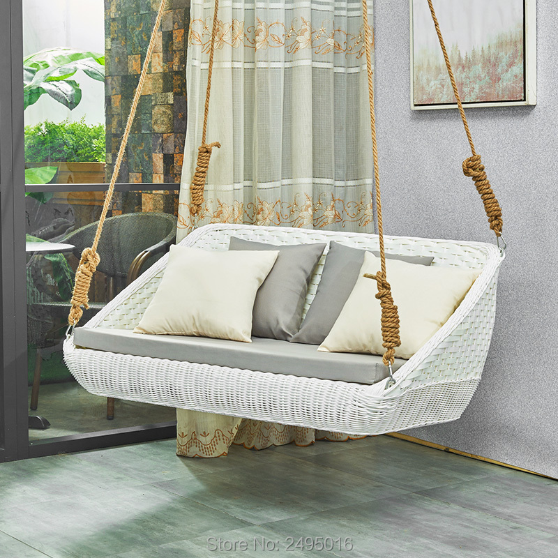Hanging Type Wicker Seat Swing Adult With Cushion ,all Weather Outdoor Or Indoor, Balcony ,Garden ,Outdoor ,Hotel, Beach Decor