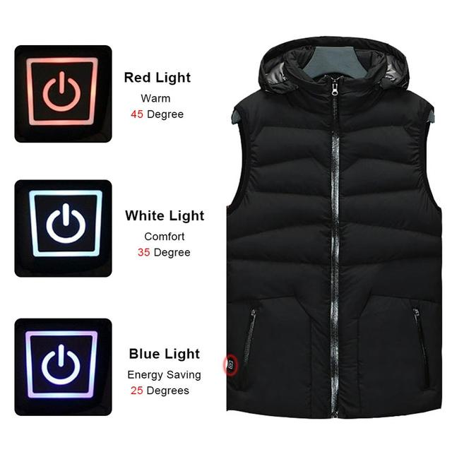 Winter Smart Self-heating Vest Cotton-padded Clothes Solid Color Sleeveless Vest Men's USB Charging Plus Velvet Jacket Men's 5