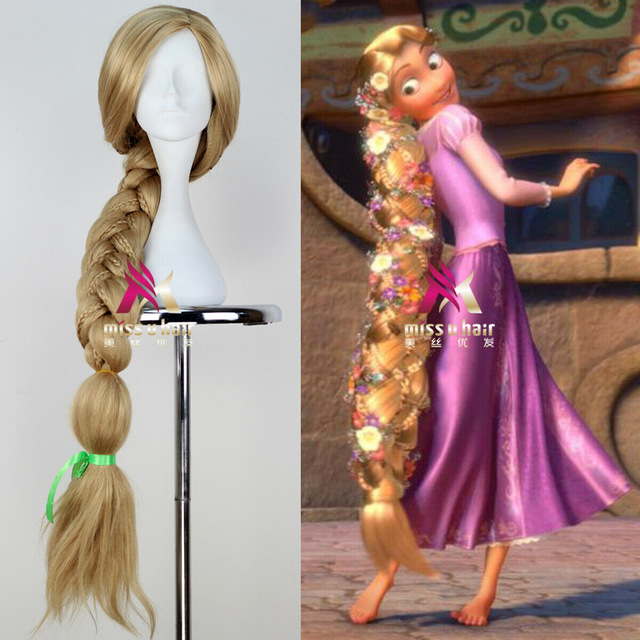 Halloween Women Princess Rapunzel Wig Stage Role Play Tangled Blonde Long Braided Hair Wig Women Golden Braids Costumes
