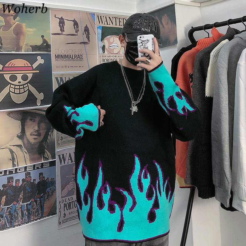 Woherb Oversize Knitted Women Man Couple Sweater Autumn Winter Flame Print Pullovers Hip-hop Clothing Harajuku Pull Jumper