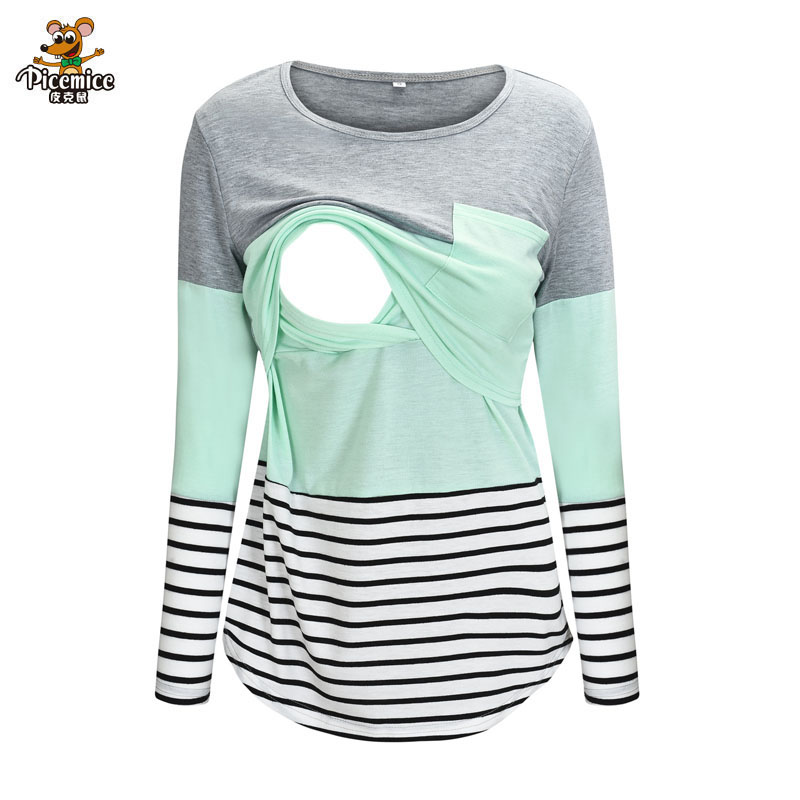 Maternity Clothes Long Sleeve Striped O-neck Nursing Maternity Tops Pregnancy Shirt For Breastfeeding Ropa Premama Embarazadas