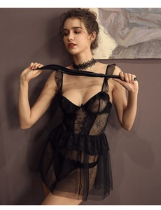 Image 5 - Francês Sexy Dormir Vestidos De Babados de Renda Ultra fina Gaze Estilingue Vestido Curto Atraente Sleepshirts Camisolas para Mulheres