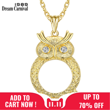 Dreamcarnival 1989 Women Long Collier Chain Necklace 2X Zoom Len Crystal Owl Pendant Rhodium Gold Color Gift for Mother Parents(China)
