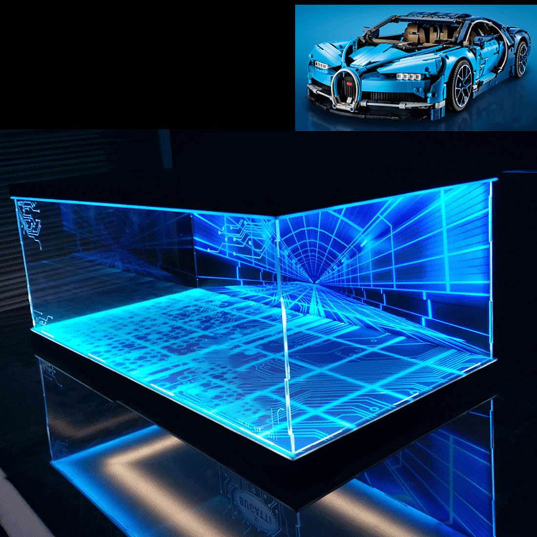 Building Block Acrylic Dustproof Display Box Show Box for Buggati Veyron 42083 (Display Box Included Only, No Kit) - 3 Lights