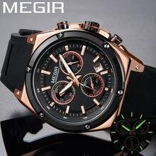 Relogio Masculino MEGIR Men Watch Top Luxury Brand Chronograph Calendar Sport Wristwatch Military Army Rubber Male Clock 2073
