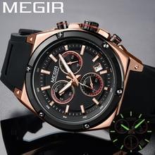 ساعة رجالية من Relogio Masculino MEGIR ساعة رجالية فاخرة من ماركة كرونوغراف ساعة يد رياضية عسكرية من المطاط ساعة رجالي 2073