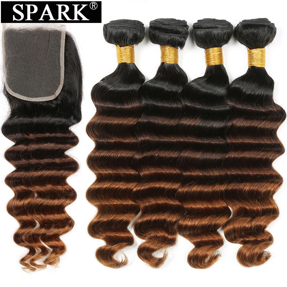 Spark Brazilian Loose Deep Wave Bundles With Closure Ombre Hair Human Hair 3/4 Bundles Closure Remy Hair Extension Medium  Ratio
