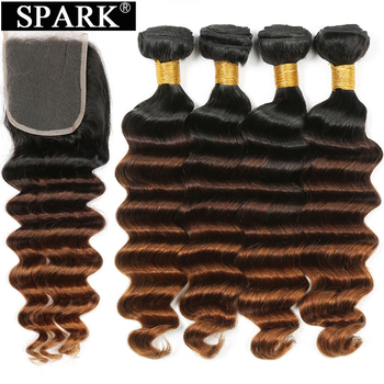 Spark Brazilian Loose Deep Wave Bundles With Closure Ombre Hair Human 3/4 Remy Extension Medium  Ratio - discount item  52% OFF Human Hair (For Black)